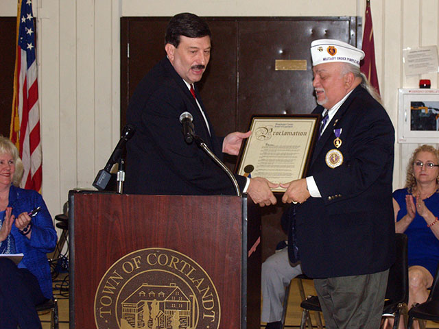 NYS Commander of the Military Order of the Purple Heart accepts County Designation from County Legislator John Testa