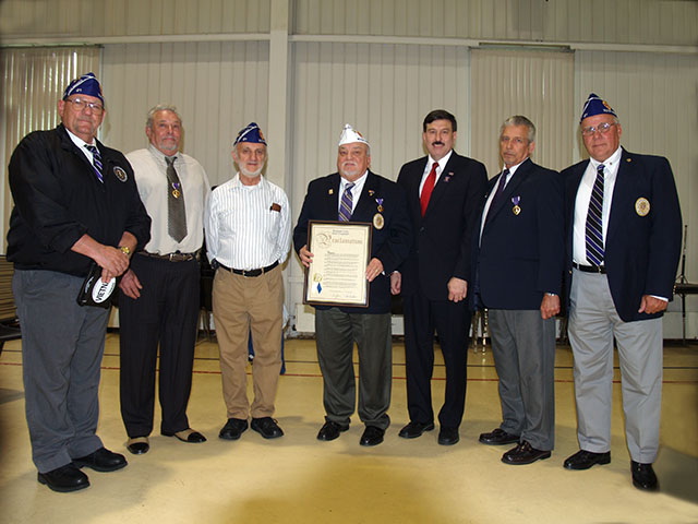 Members of the Military Order of the Purple Heart join Legislator Testa at the Cortlandt Memorial Day Ceremony: L-R: Dale Novak, Frank Mulfari, Eugene Lang, Commander Nazario, Leg. Testa, Eugene Perrotta, John Ascani