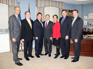 Members of the Republican Caucus meet with County Executive Rob Astorino following the passage of the budget. (L-R: David Gelfarb, Michael Smith, Jim Maisano, Rob Astorino, Sheila Marcotte, John Testa, Gordon Burrows)