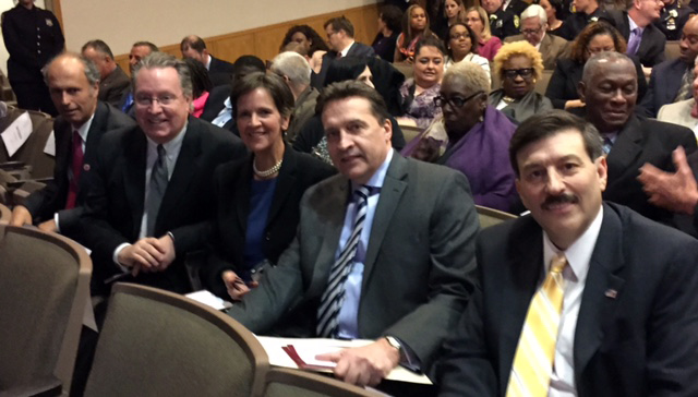 GOP Legislators anxiously await County Executive Astorino's Address. L-R: David Gelfarb, Michael Smith, Sheila Marcotte, Minority Whip Gordon Burrows, Minority Leader John Testa.