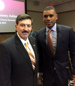 Minority Leader Testa with former NY Knick and General Manager of the Westchester Knick D-League team Allan Houston.